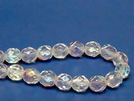 Picture of 8x8 mm, Czech faceted round beads, crystal, transparent, AB