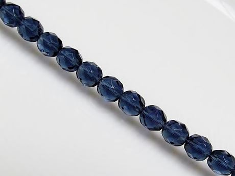 Picture of 8x8 mm, Czech faceted round beads, Montana blue, transparent