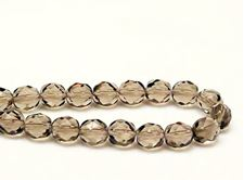 Picture of 8x8 mm, Czech faceted round beads, smoke grey, transparent