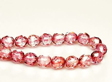 Picture of 8x8 mm, Czech faceted round beads, transparent, light topaz pink luster
