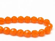Picture of 8x8 mm, Czech faceted round beads, opal orange, translucent