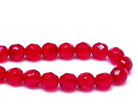 Picture of 8x8 mm, Czech faceted round beads, deep ruby red, transparent
