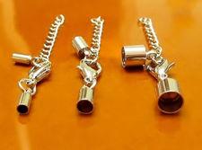 Image de Fermoir avec embouts de cordon, set de 3 tailles, cuivre plaqué rhodium, 6 pièces