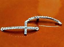 Afbeelding van Verbindingskraal, kruis, rhodium, pavé kristal