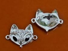 Picture of Connector, fox head, rhodium-plated, pavé crystal