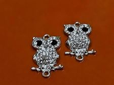 Picture of Connector, owl, rhodium-plated, pavé crystal