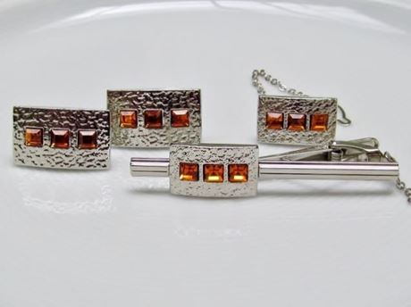 Picture of Cufflinks and tie clips, rectangular, topaz golden yellow crystals, silver-plated