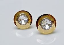 Picture of Cufflinks, round, dome, central transparent crystal, gold-plated