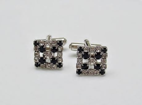 Picture of Cufflinks, open-worked square, black crystals, silver-plated