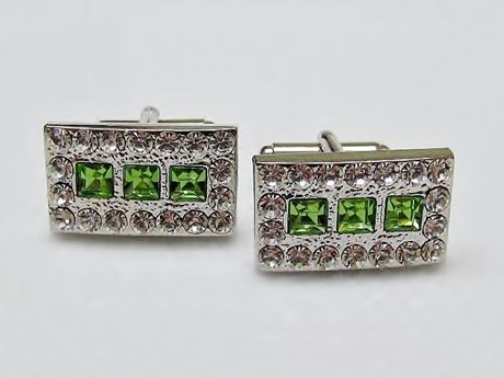 Picture of Cufflinks, rectangular, peridot green crystals, silver-plated