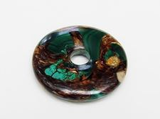 Picture of Focal pendant, 40 mm, donut shape, gemstone, malachite and bronzite