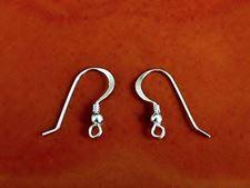 Image de Crochets d'oreille, 14x20 mm,  avec spirale, petite balle et anneau, argent sterling, 1 paire