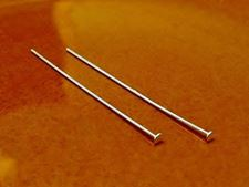 Picture of Head pins, 2 inches, 21 gauge, sterling silver, 2 pieces