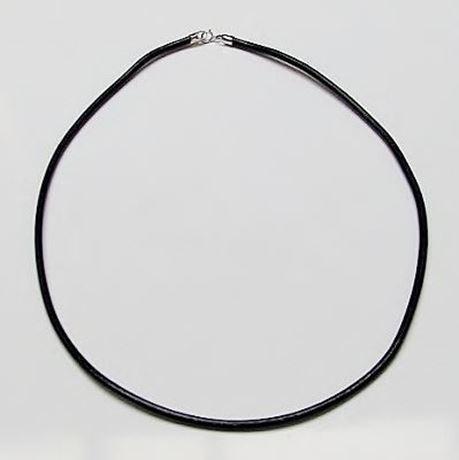Image de Collier de cordon en cuir, noir, 3 mm, fermoir argent sterling