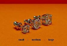 """Image de Clous d'oreilles, """" taille rond brillant"""", argent sterling, zircone cubique ronde, médium, 7.7 mm"""
