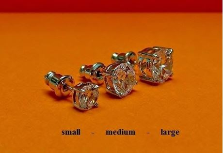 "Picture of ""Brilliant cut"" modern stud earrings, sterling silver, round cubic zirconia, medium, 7 mm"