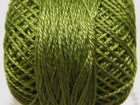 Image de Coton perlé, taille 8, vert avocat moyen clair, lustré