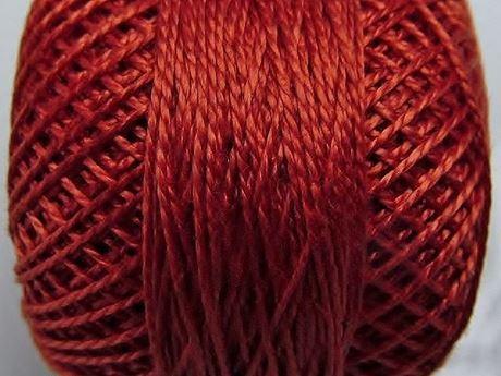 Image de Coton perlé, taille 8, rouge terre cuite moyen, lustré