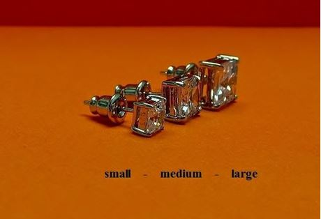 """Picture of """"Princess cut"""" stud earrings, sterling silver, square cubic zirconia, large, 8.8 mm"""