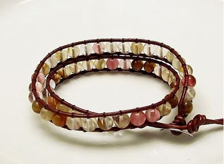 Picture of Wrap bracelet, gemstone beads, multi-colored cherry quartz
