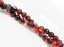 Picture of 6x6 mm, round, gemstone beads, natural striped agate, black and red brown
