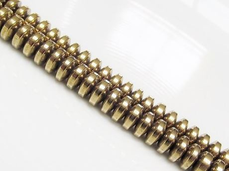 Image de 3x6 mm, perles rondelles convexes, pierres gemmes, hématite, métallisée jaune or pâle