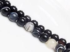 Image de 10x10 mm, perles rondes, pierres gemmes, agate à rayures naturelle, noire