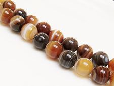 Picture of 10x10 mm, round, gemstone beads, natural striped agate, caramel to deep brown