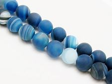 Picture of 10x10 mm, round, gemstone beads, natural striped agate, deep electric blue, frosted