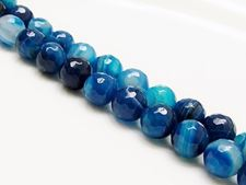 Picture of 10x10 mm, round, gemstone beads, natural striped agate, deep electric blue, faceted
