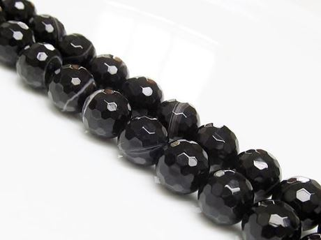 Picture of 10x10 mm, round, gemstone beads, natural striped agate, black, faceted