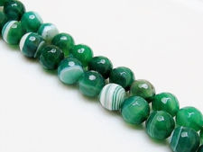 Picture of 10x10 mm, round, gemstone beads, natural striped agate, mint green to emerald green, faceted
