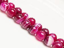 Image de 10x10 mm, perles rondes, pierres gemmes, agate à rayures naturelle, rouge rose