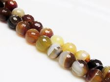 Picture of 10x10 mm, round, gemstone beads, natural striped agate, yellow brown, faceted