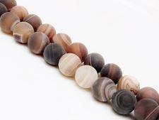 Image de 10x10 mm, perles rondes, pierres gemmes, agate à rayures naturelle, brun caramel et brun foncé, dépoli