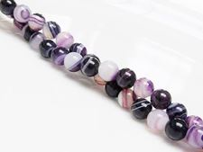 Picture of 6x6 mm, round, gemstone beads, natural striped agate, purple