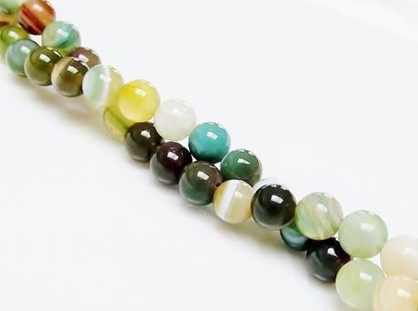 Picture of 6x6 mm, round, gemstone beads, natural striped agate, shades of green