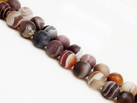 Picture of 8x8 mm, round, gemstone beads, Botswana agate, natural, frosted
