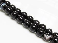 Picture of 8x8 mm, round, gemstone beads, natural striped agate, black