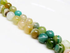 Picture of 8x8 mm, round, gemstone beads, natural striped agate, in shades of blue green and yellow green
