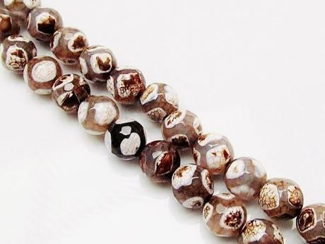 Picture of 10x10 mm, round, gemstone beads, crackle agate, beige, Tibetan style, white and brown dots
