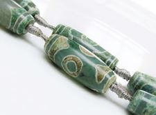 Picture of 12x30 mm, rice, gemstone beads, agate, Tibetan style, beige & blue green, sold per bead