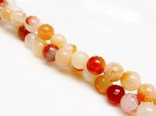 Picture of 6x6 mm, round, gemstone beads, crackle agate, peach orange