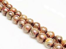 Picture of 8x8 mm, round, gemstone beads, agate, Tibetan style, beige brown and light grayish-brown
