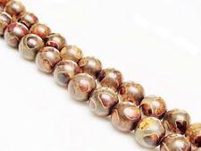 Image de 8x8 mm, perles rondes, pierres gemmes, agate, style tibétain, brun beige et brun-gris pâle