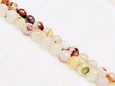 Picture of 8x8 mm, round, gemstone beads, agate, white, natural, with inclusions, faceted