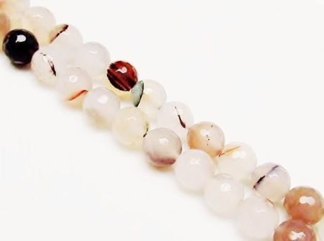 Picture of 10x10 mm, round, gemstone beads, agate, white, natural, with plant inclusions, faceted