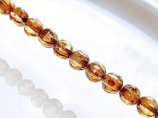 Picture of 6x6 mm, round melon, Czech druk beads, crystal, transparent, picasso