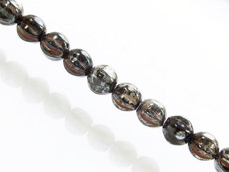 Image de 6x6 mm, forme de melon, perles de verre pressé tchèque, noires, opaques, mélange de picasso rouge et de finition chatoyante