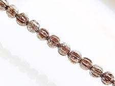 Picture of 4x4 mm, round melon, Czech druk beads, smoke topaz brown, transparent, silver rain